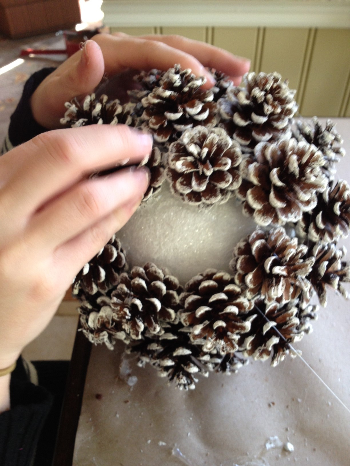 pine cone glueing